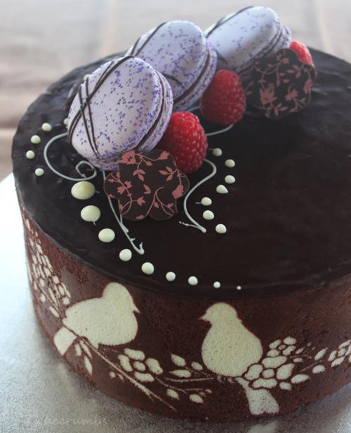 Joconde Cake With Chocolate Design : nuts Cakecrumbs